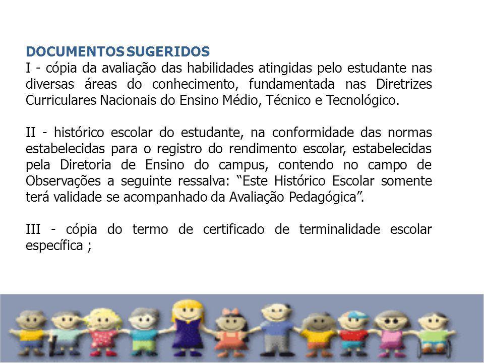 DOCUMENTOS SUGERIDOS I - cópia da avaliação das habilidades atingidas pelo estudante nas diversas áreas do conhecimento, fundamentada nas Diretrizes C