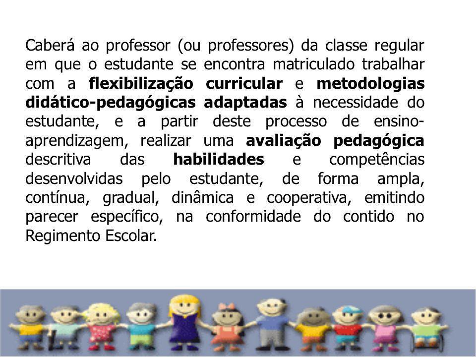 Caberá ao professor (ou professores) da classe regular em que o estudante se encontra matriculado trabalhar com a flexibilização curricular e metodolo