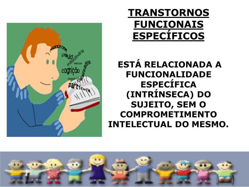 REFERE-SE A UM GRUPO HETEROGÊNEO DE ALTERAÇÕES MANIFESTADAS POR DIFICULDADES SIGNIFICATIVAS NA AQUISIÇÃO E USO AUDIÇÃO, FALA, LEITURA, ESCRITA, RACIOCÍNIO OU HABILIDADES MATEMÁTICAS ATENÇÃO E CONCENTRAÇÃO ( DISLEXIA, DISORTOGRAFIA, DISCALCULIA, TRANSTORNO DE ATENÇÃO COM OU SEM HIPERATIVIDADE ENTRE OUTROS).