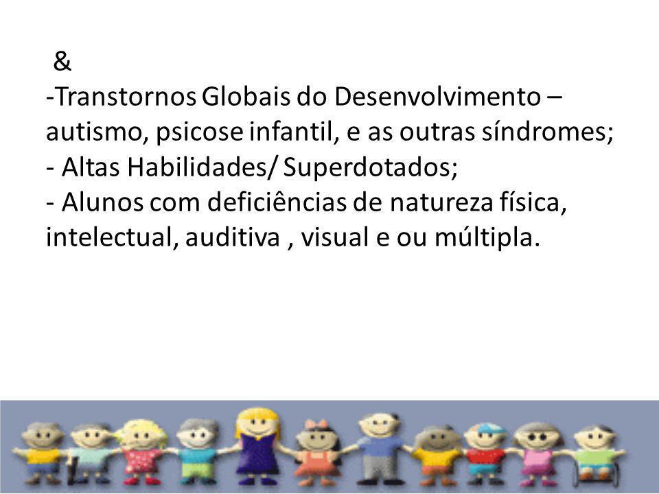 & -Transtornos Globais do Desenvolvimento – autismo, psicose infantil, e as outras síndromes; - Altas Habilidades/ Superdotados; - Alunos com deficiên
