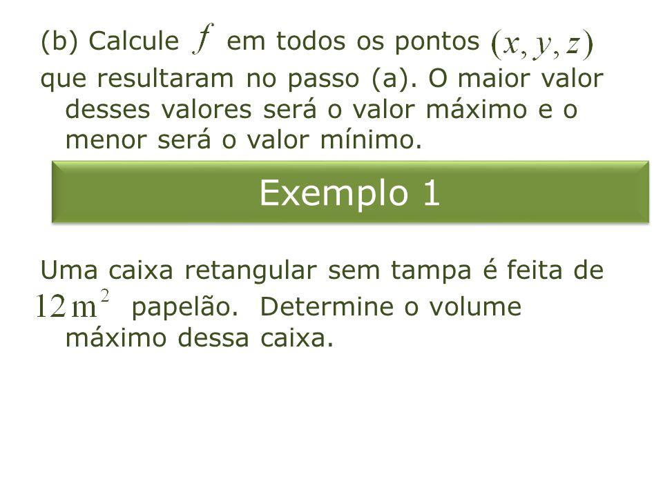 Exemplo 2 Determine os valores extremos de no círculo