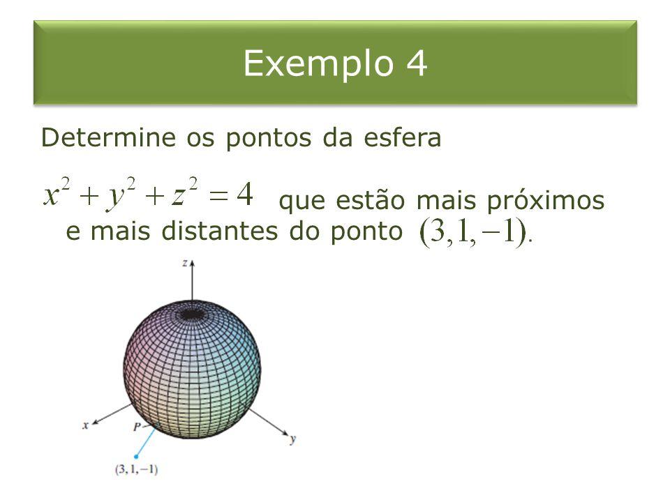Exemplo 4 Determine os pontos da esfera que estão mais próximos e mais distantes do ponto