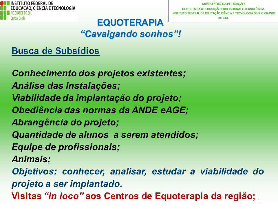 10 MINISTÉRIO DA EDUCAÇÃO SECRETARIA DE EDUCAÇÃO PROFISSIONAL E TECNOLÓGICA INSTITUTO FEDERAL DE EDUCAÇÃO CIÊNCIA E TECNOLOGIA DO RIO GRANDE DO SUL EQUOTERAPIA Cavalgando sonhos.