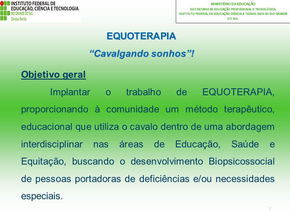 7 MINISTÉRIO DA EDUCAÇÃO SECRETARIA DE EDUCAÇÃO PROFISSIONAL E TECNOLÓGICA INSTITUTO FEDERAL DE EDUCAÇÃO CIÊNCIA E TECNOLOGIA DO RIO GRANDE DO SUL EQUOTERAPIA Cavalgando sonhos.