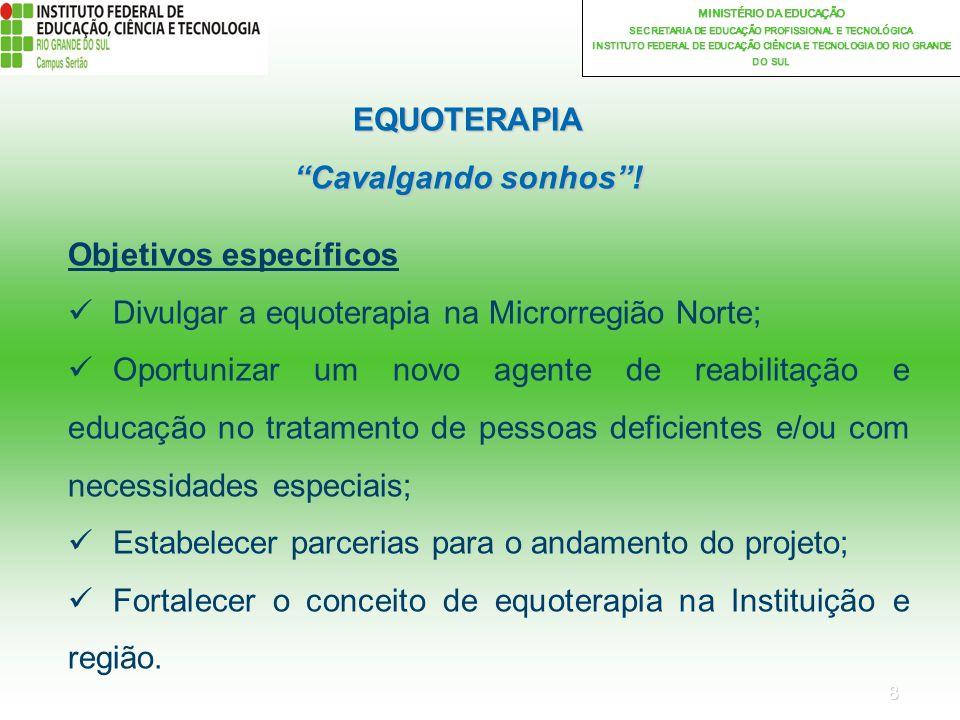 19 MINISTÉRIO DA EDUCAÇÃO SECRETARIA DE EDUCAÇÃO PROFISSIONAL E TECNOLÓGICA INSTITUTO FEDERAL DE EDUCAÇÃO CIÊNCIA E TECNOLOGIA DO RIO GRANDE DO SUL EQUOTERAPIA Cavalgando sonhos!
