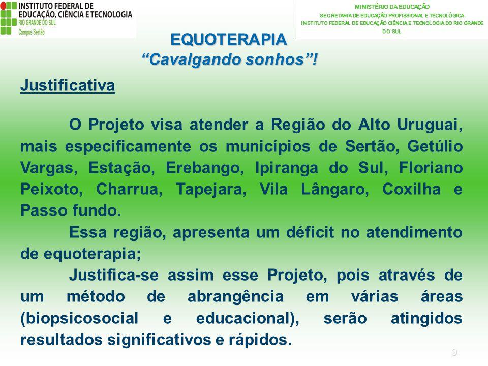 9 MINISTÉRIO DA EDUCAÇÃO SECRETARIA DE EDUCAÇÃO PROFISSIONAL E TECNOLÓGICA INSTITUTO FEDERAL DE EDUCAÇÃO CIÊNCIA E TECNOLOGIA DO RIO GRANDE DO SUL EQUOTERAPIA Cavalgando sonhos.