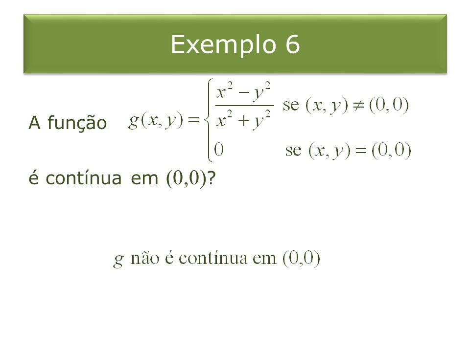 Exemplo 6 A função é contínua em (0,0) ?