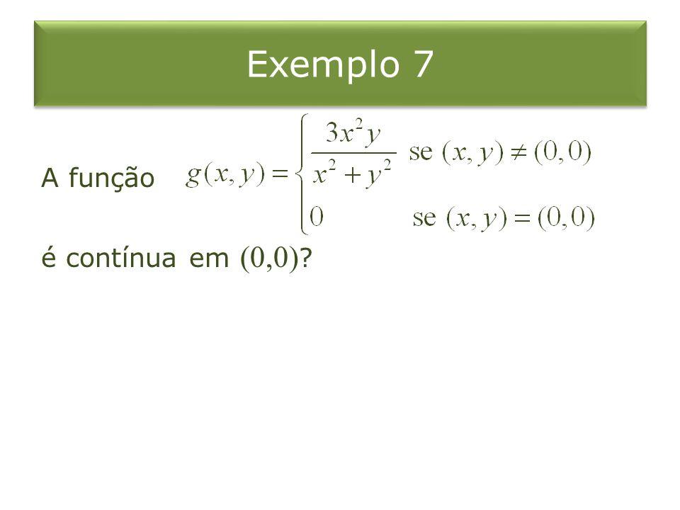Exemplo 7 A função é contínua em (0,0) ?