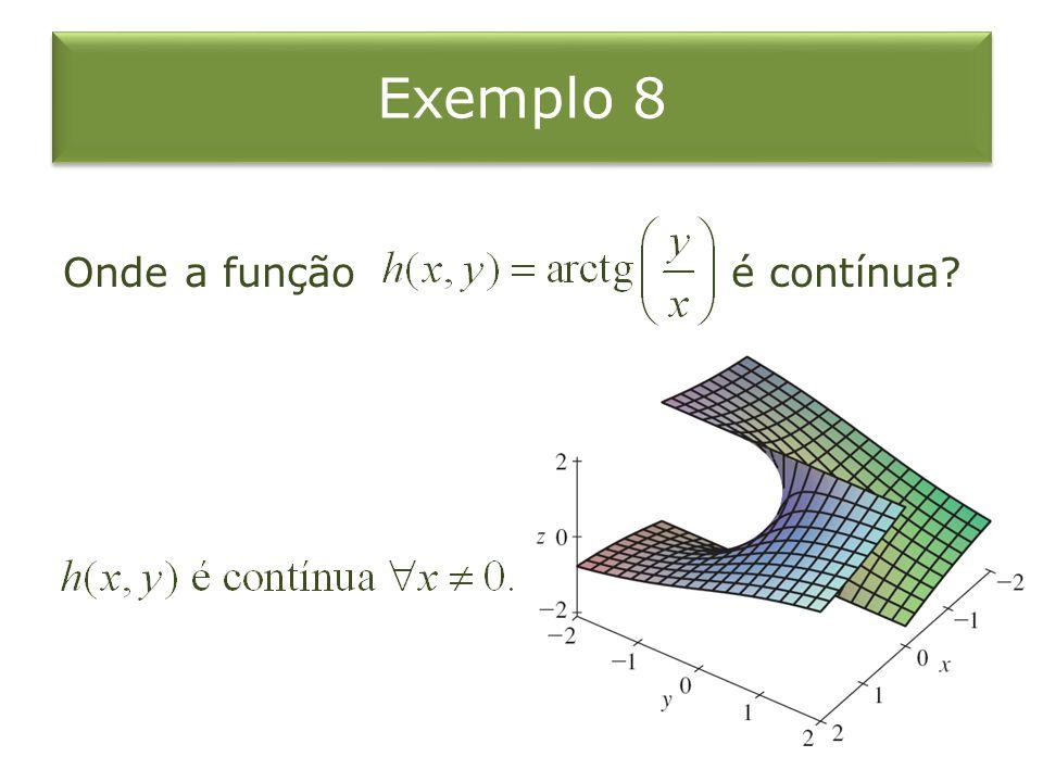 Exemplo 8 Onde a função é contínua?