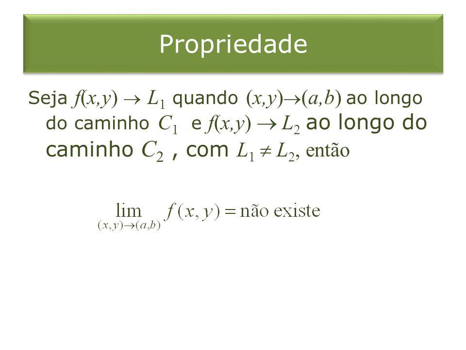 Propriedade Seja f(x,y) L 1 quando (x,y) (a,b) ao longo do caminho C 1 e f(x,y) L 2 ao longo do caminho C 2, com L 1 L 2, então