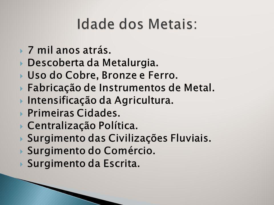 7 mil anos atrás.Descoberta da Metalurgia. Uso do Cobre, Bronze e Ferro.
