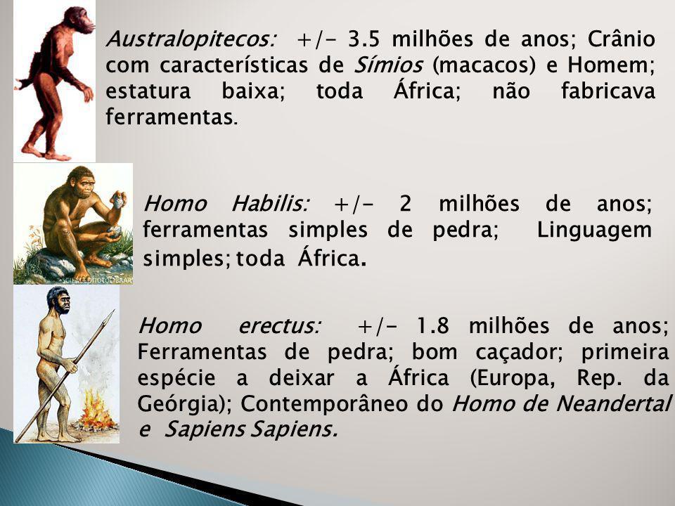 Australopitecos: +/- 3.5 milhões de anos; Crânio com características de Símios (macacos) e Homem; estatura baixa; toda África; não fabricava ferramentas.