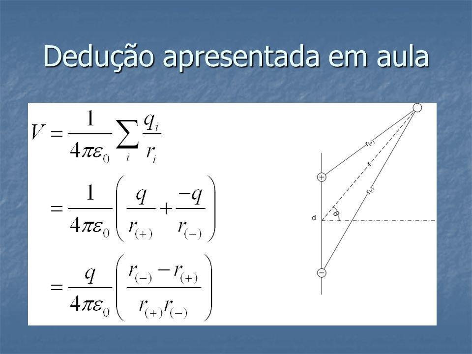 Aproximações Como normalmente o ponto a ser testado está longe do dipolo aproximamos que r(-) e r(+) são paralelos a r.