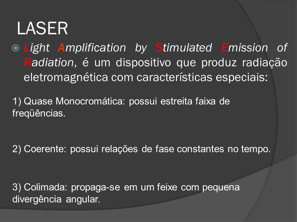 LASER Light Amplification by Stimulated Emission of Radiation, é um dispositivo que produz radiação eletromagnética com características especiais: 1)