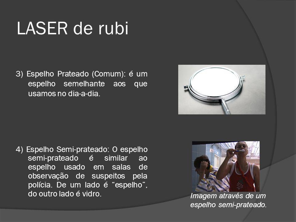 LASER de rubi 3) Espelho Prateado (Comum): é um espelho semelhante aos que usamos no dia-a-dia. 4) Espelho Semi-prateado: O espelho semi-prateado é si