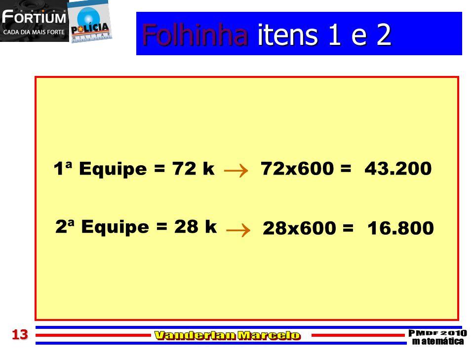 1313 Folhinha itens 1 e 2 1ª Equipe = 72 k 2ª Equipe = 28 k 72x600 = 43.200 28x600 = 16.800