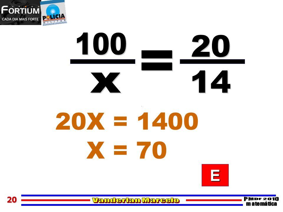 2020 20X = 1400 X = 70 EEEE