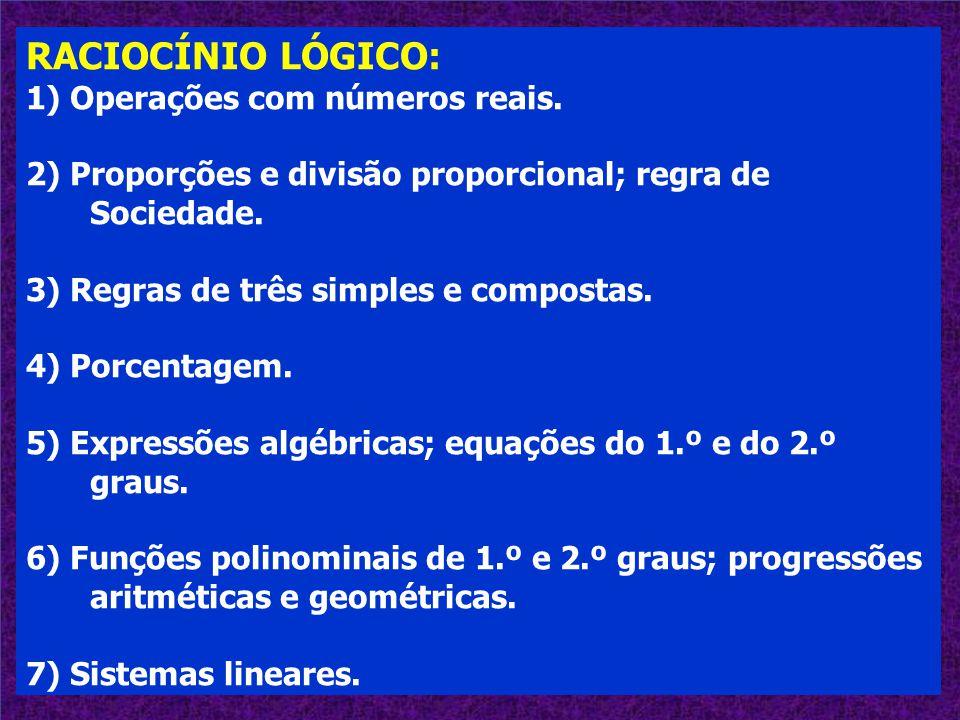 RACIOCÍNIO LÓGICO: 1) Operações com números reais. 2) Proporções e divisão proporcional; regra de Sociedade. 3) Regras de três simples e compostas. 4)