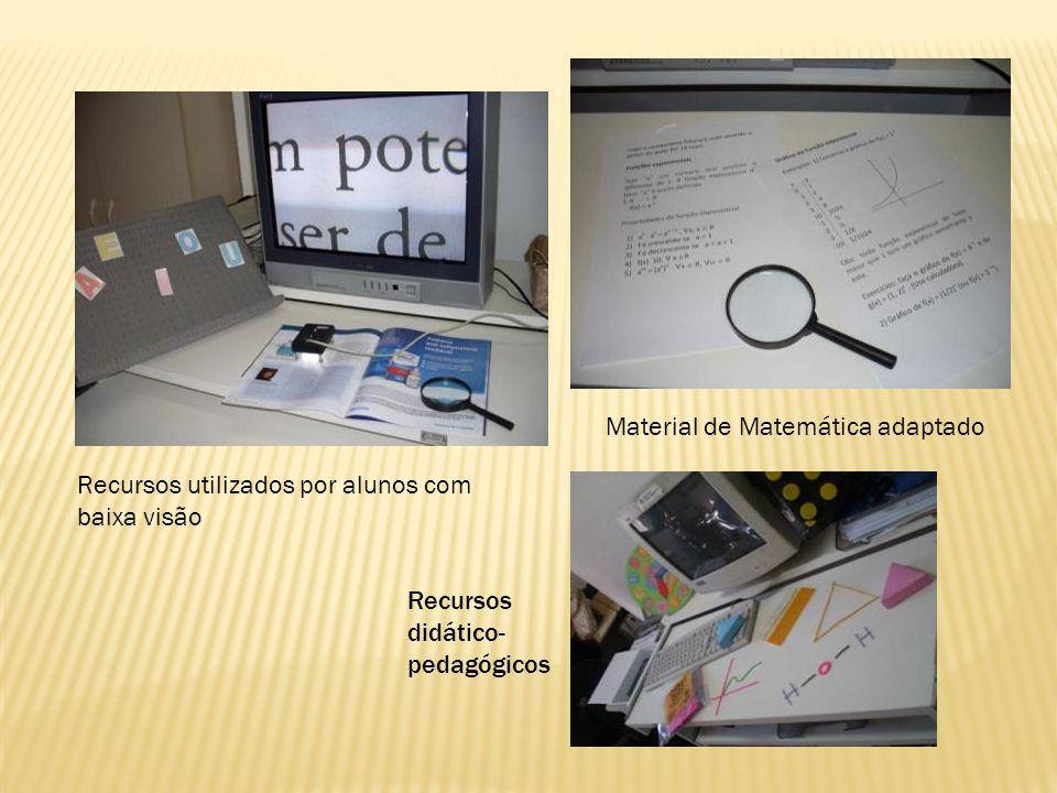 Recursos utilizados por alunos com baixa visão Recursos didático- pedagógicos Material de Matemática adaptado