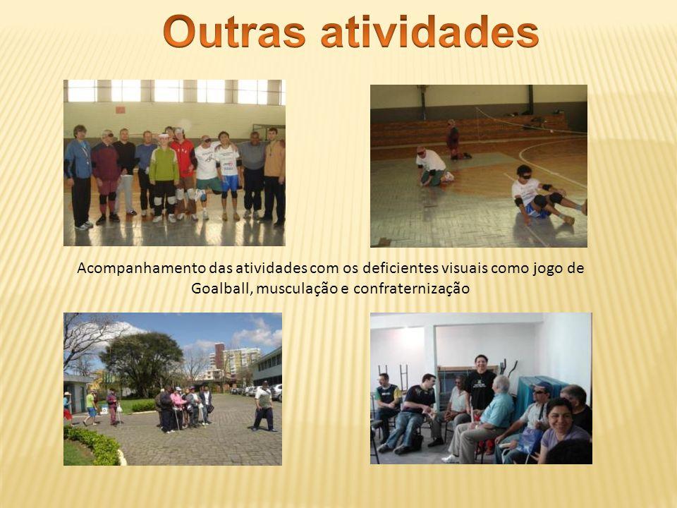 Acompanhamento das atividades com os deficientes visuais como jogo de Goalball, musculação e confraternização