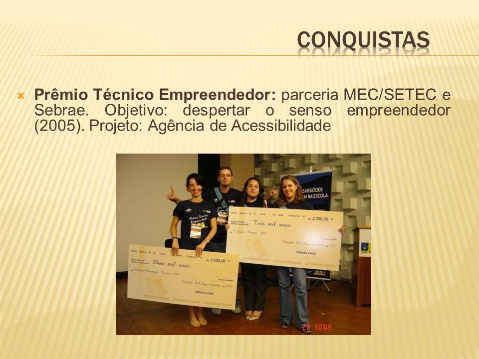 Prêmio Técnico Empreendedor: parceria MEC/SETEC e Sebrae.