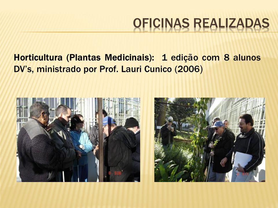 Horticultura (Plantas Medicinais): 1 edição com 8 alunos DVs, ministrado por Prof.