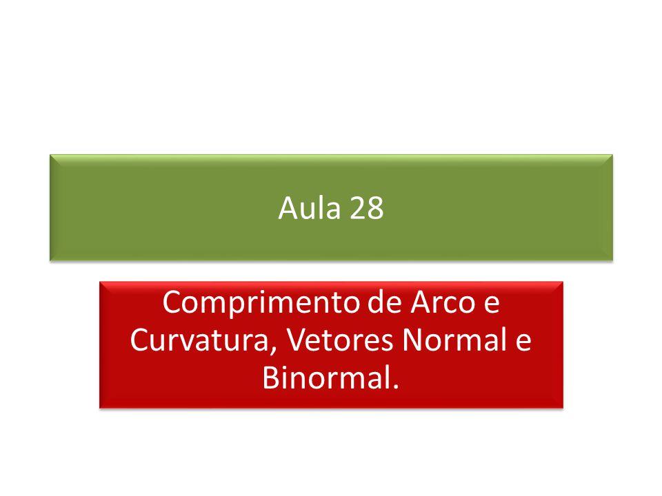 Aula 28 Comprimento de Arco e Curvatura, Vetores Normal e Binormal.