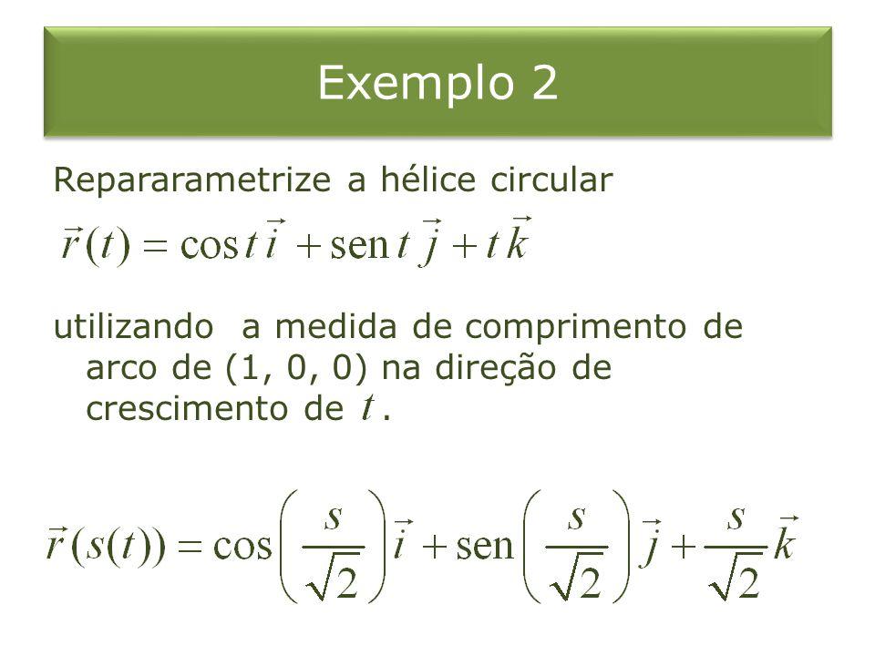 Exemplo 2 Repararametrize a hélice circular utilizando a medida de comprimento de arco de (1, 0, 0) na direção de crescimento de.