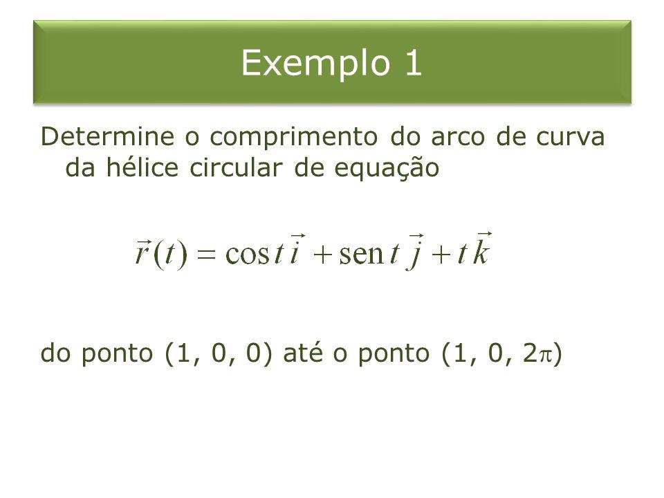 Exemplo 1 Determine o comprimento do arco de curva da hélice circular de equação do ponto (1, 0, 0) até o ponto (1, 0, 2)