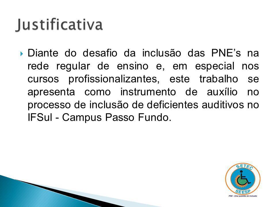 Oferecer, através deste trabalho, subsídios para a implantação de processos inclusivos de pessoas surdas no IFSul, campus Passo Fundo, via NAPNE.