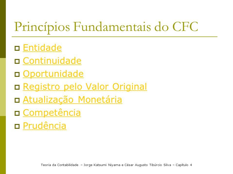 Princípios Fundamentais do CFC Entidade Continuidade Oportunidade Registro pelo Valor Original Atualização Monetária Competência Prudência Teoria da C