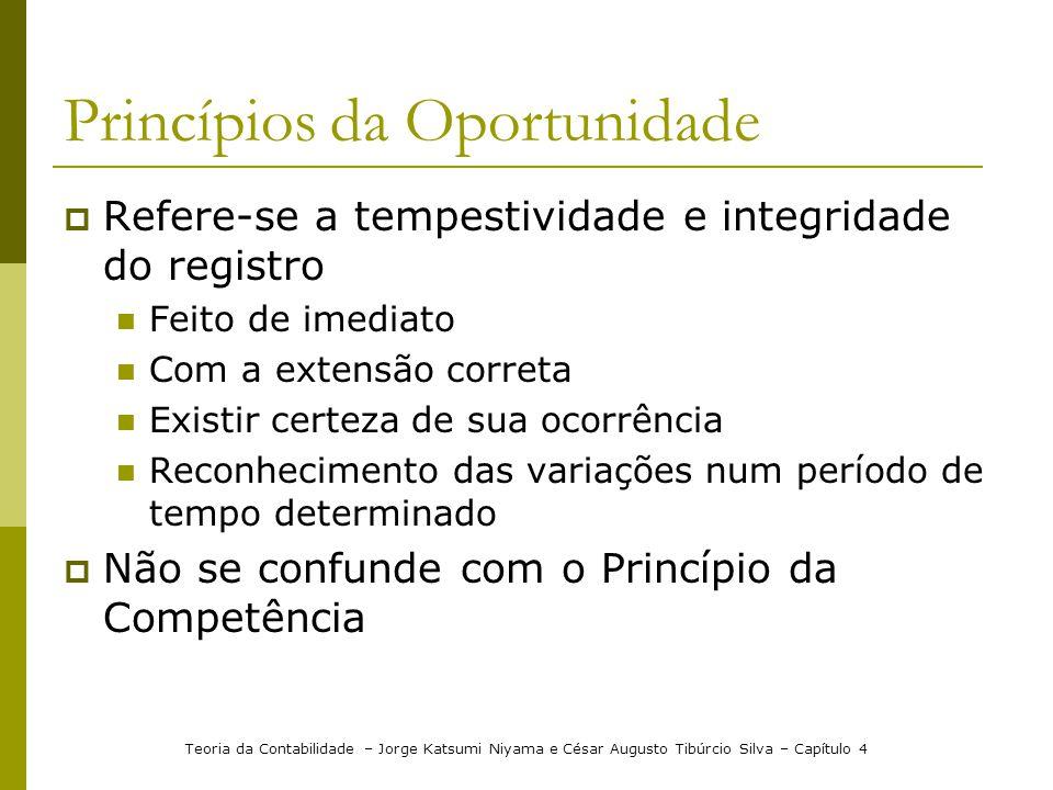 Princípios da Oportunidade Refere-se a tempestividade e integridade do registro Feito de imediato Com a extensão correta Existir certeza de sua ocorrê