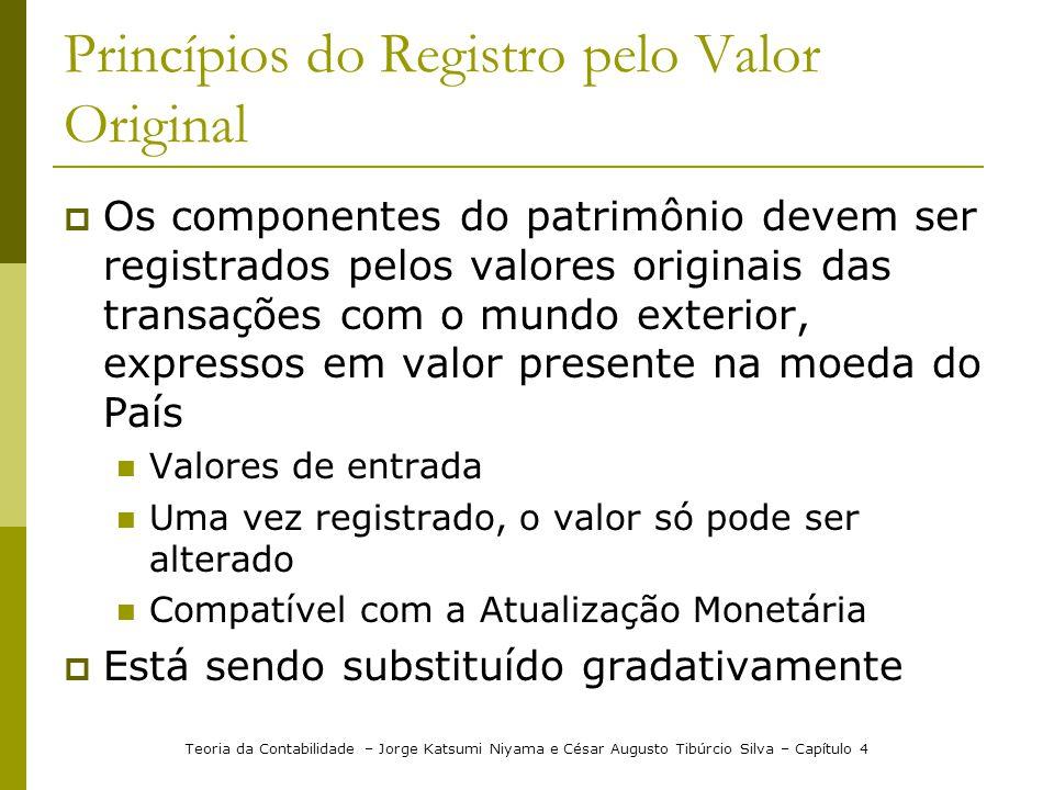 Princípios do Registro pelo Valor Original Os componentes do patrimônio devem ser registrados pelos valores originais das transações com o mundo exter