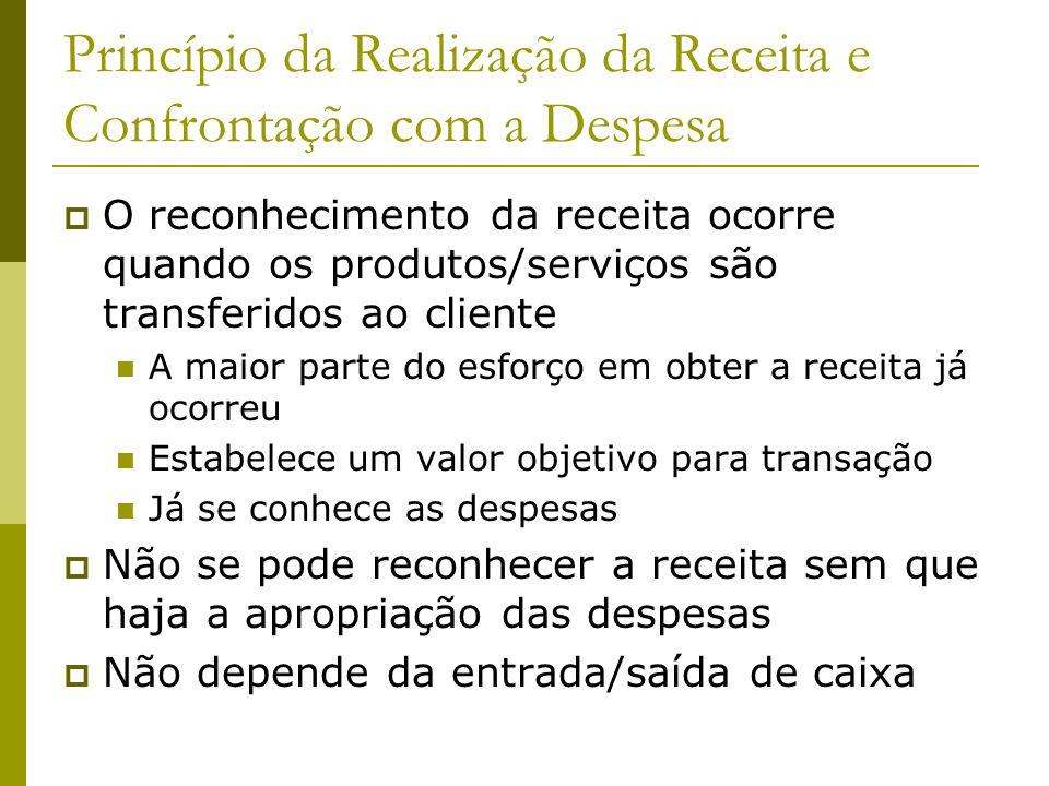 Princípio da Realização da Receita e Confrontação com a Despesa O reconhecimento da receita ocorre quando os produtos/serviços são transferidos ao cli