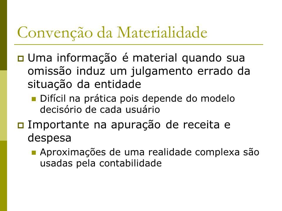 Convenção da Materialidade Uma informação é material quando sua omissão induz um julgamento errado da situação da entidade Difícil na prática pois dep