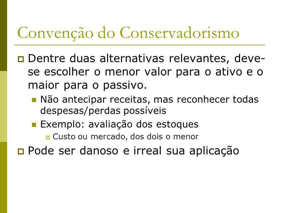 Convenção do Conservadorismo Dentre duas alternativas relevantes, deve- se escolher o menor valor para o ativo e o maior para o passivo. Não antecipar