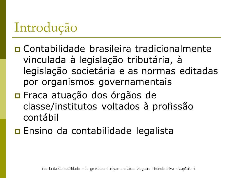 Introdução Contabilidade brasileira tradicionalmente vinculada à legislação tributária, à legislação societária e as normas editadas por organismos go