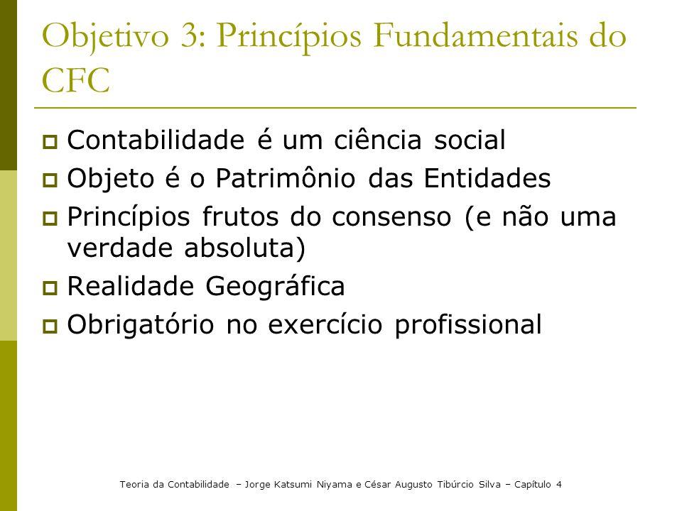 Objetivo 3: Princípios Fundamentais do CFC Contabilidade é um ciência social Objeto é o Patrimônio das Entidades Princípios frutos do consenso (e não