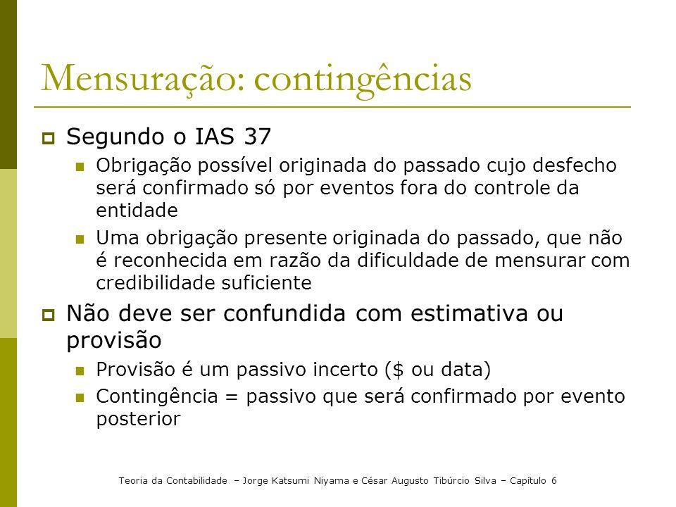 Mensuração: contingências Segundo o IAS 37 Obrigação possível originada do passado cujo desfecho será confirmado só por eventos fora do controle da en