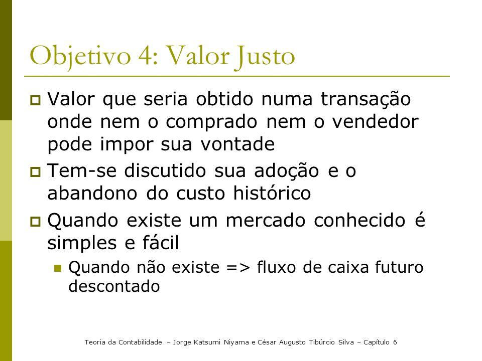 Objetivo 4: Valor Justo Valor que seria obtido numa transação onde nem o comprado nem o vendedor pode impor sua vontade Tem-se discutido sua adoção e