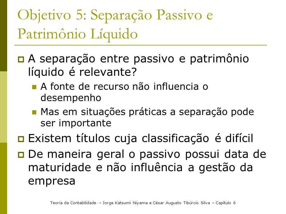 Objetivo 5: Separação Passivo e Patrimônio Líquido A separação entre passivo e patrimônio líquido é relevante? A fonte de recurso não influencia o des