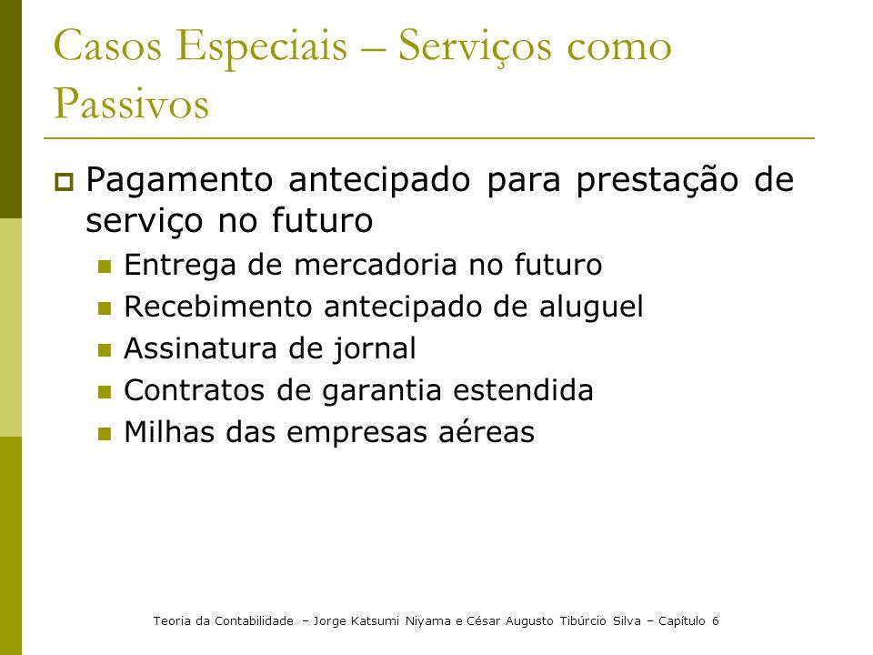 Casos Especiais – Serviços como Passivos Pagamento antecipado para prestação de serviço no futuro Entrega de mercadoria no futuro Recebimento antecipa