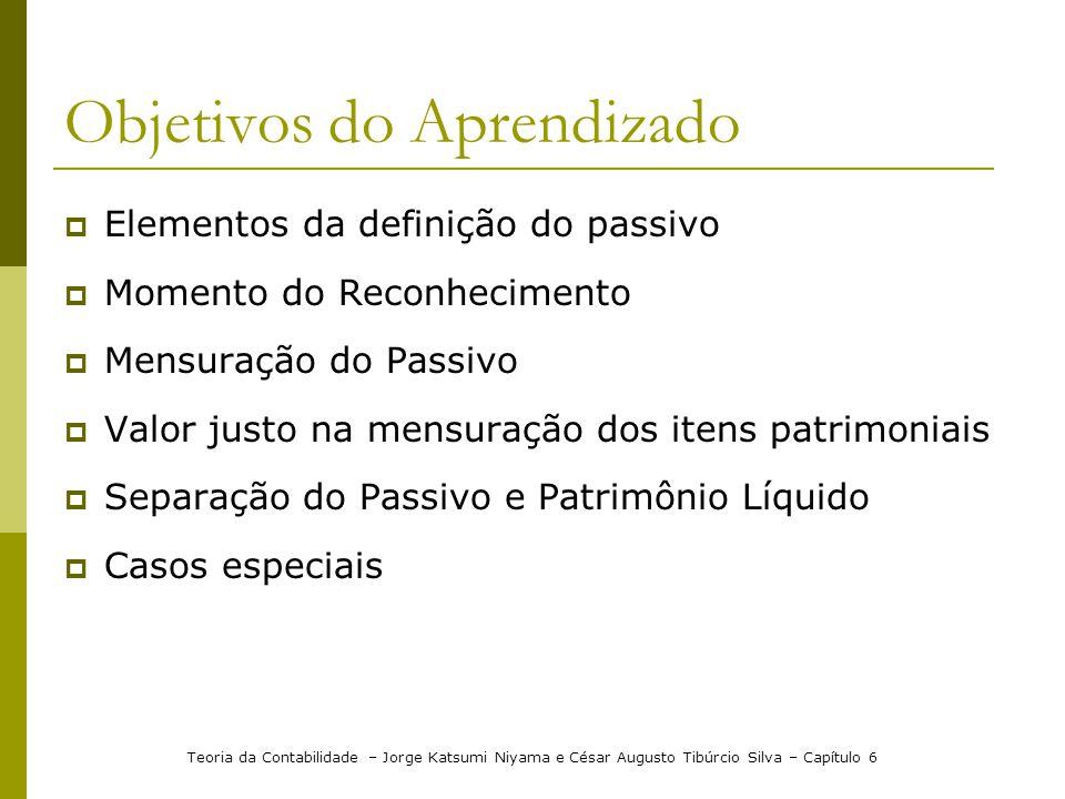 Objetivos do Aprendizado Elementos da definição do passivo Momento do Reconhecimento Mensuração do Passivo Valor justo na mensuração dos itens patrimo