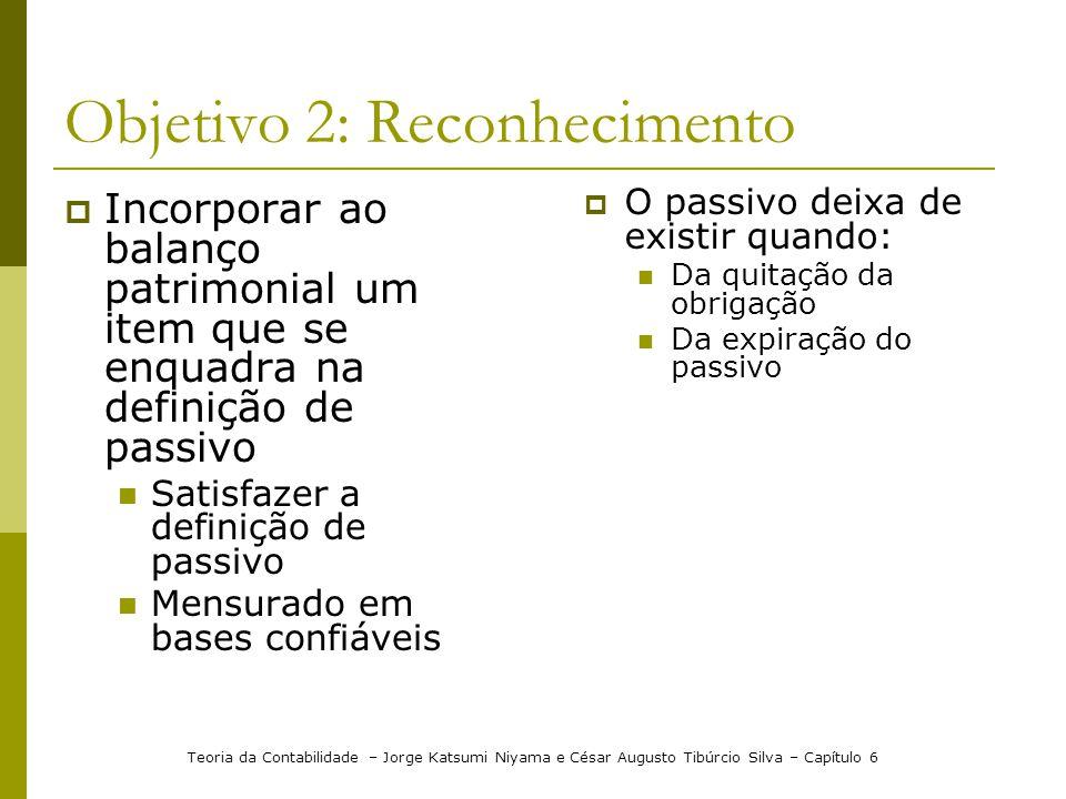 Objetivo 2: Reconhecimento Incorporar ao balanço patrimonial um item que se enquadra na definição de passivo Satisfazer a definição de passivo Mensura
