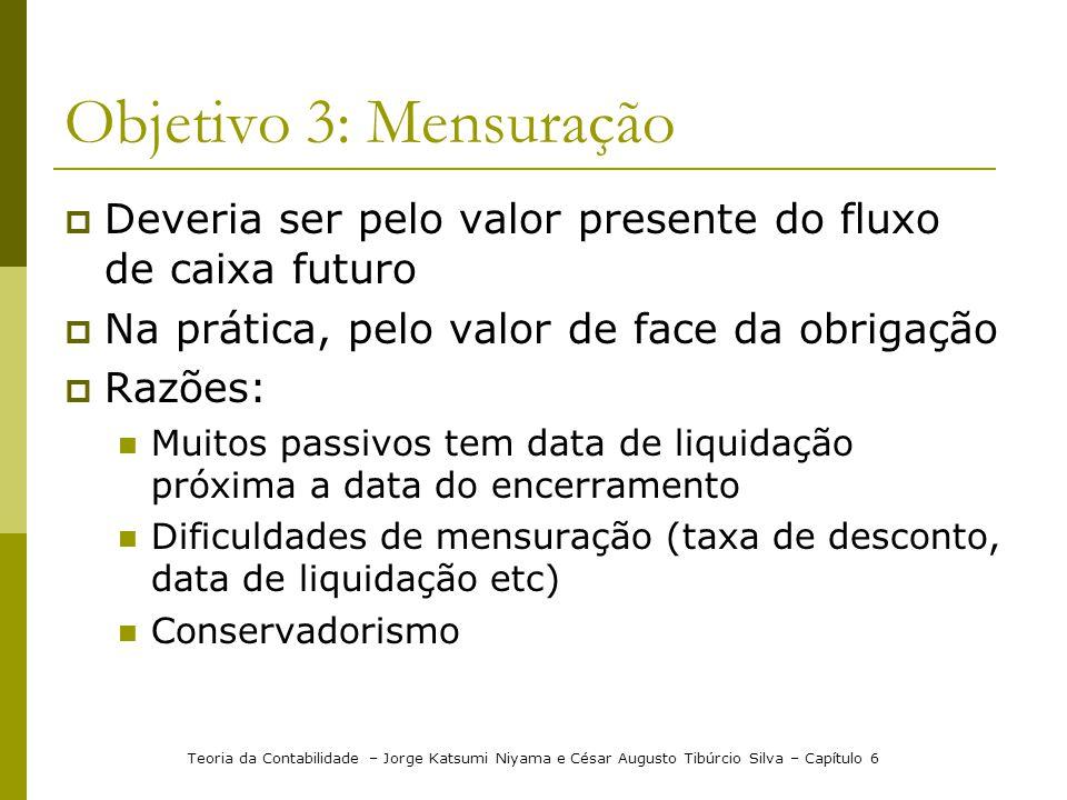Objetivo 3: Mensuração Deveria ser pelo valor presente do fluxo de caixa futuro Na prática, pelo valor de face da obrigação Razões: Muitos passivos te