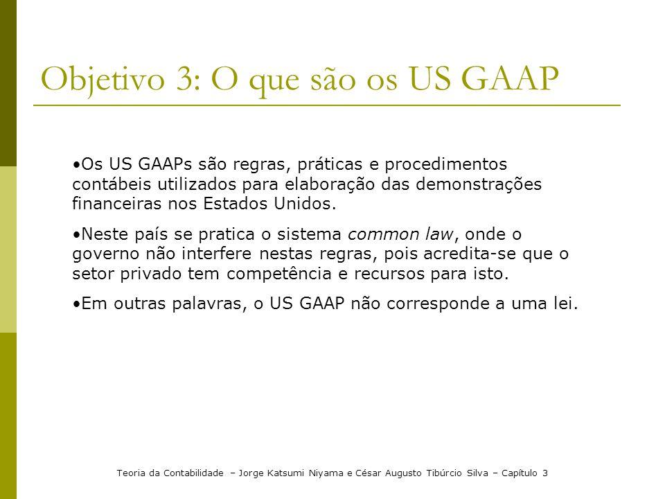 Objetivo 3: O que são os US GAAP Teoria da Contabilidade – Jorge Katsumi Niyama e César Augusto Tibúrcio Silva – Capítulo 3 Os US GAAPs são regras, práticas e procedimentos contábeis utilizados para elaboração das demonstrações financeiras nos Estados Unidos.