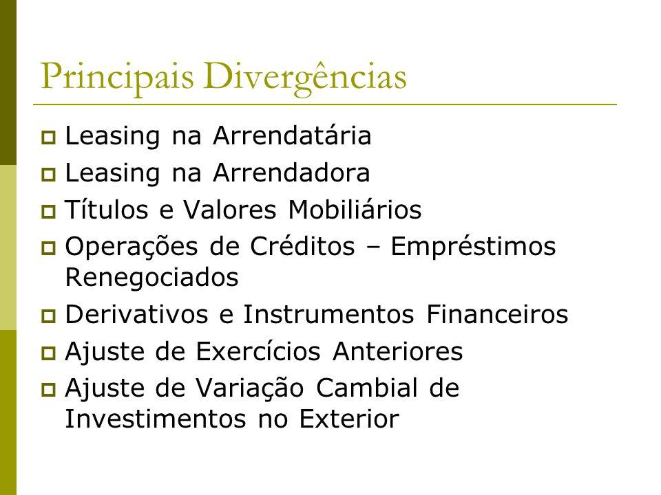 Principais Divergências Leasing na Arrendatária Leasing na Arrendadora Títulos e Valores Mobiliários Operações de Créditos – Empréstimos Renegociados Derivativos e Instrumentos Financeiros Ajuste de Exercícios Anteriores Ajuste de Variação Cambial de Investimentos no Exterior