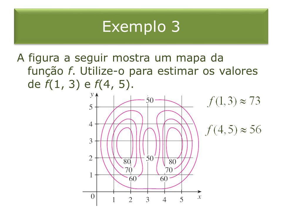 Exemplo 3 A figura a seguir mostra um mapa da função f. Utilize-o para estimar os valores de f(1, 3) e f(4, 5).