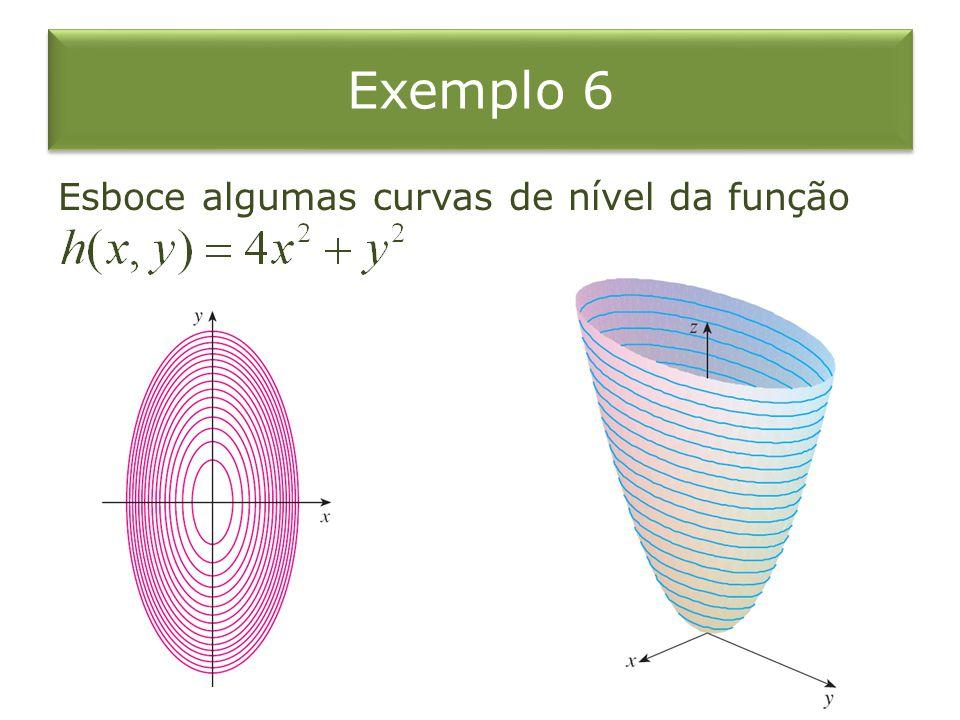Exemplo 6 Esboce algumas curvas de nível da função