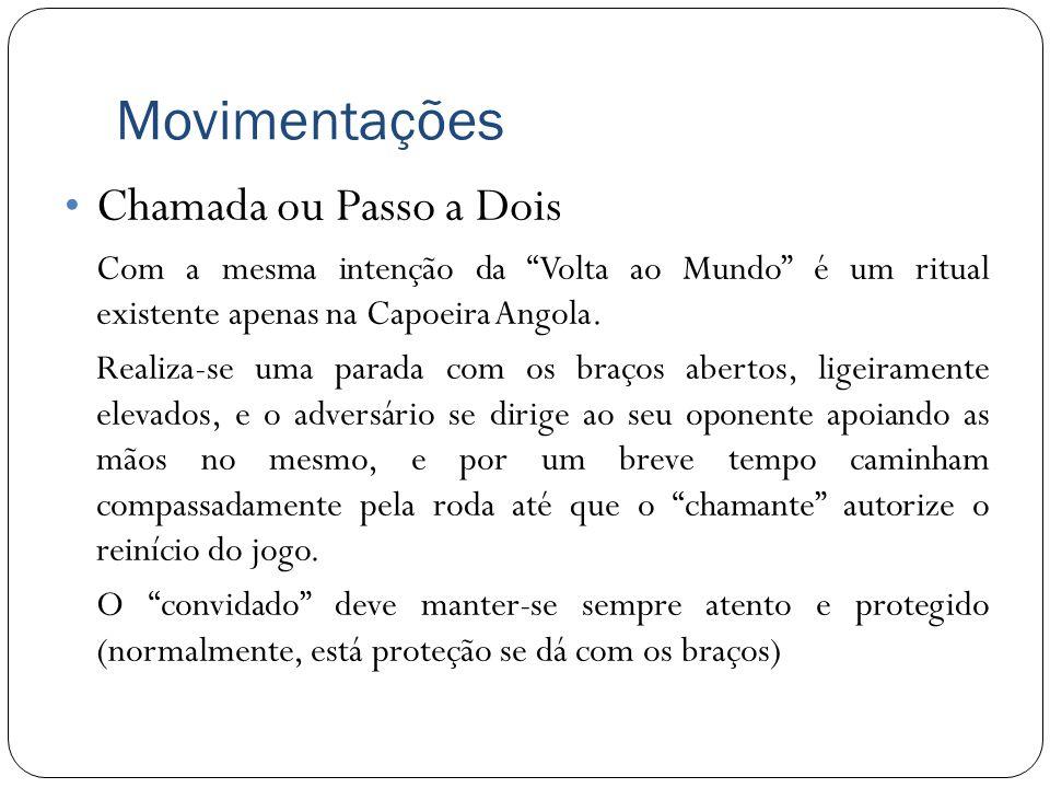 Movimentações Chamada ou Passo a Dois Com a mesma intenção da Volta ao Mundo é um ritual existente apenas na Capoeira Angola. Realiza-se uma parada co